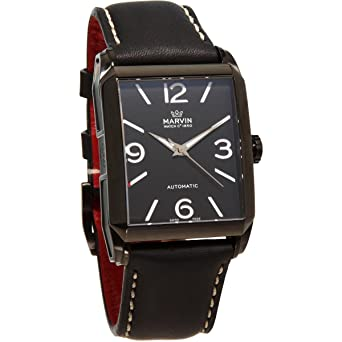 Mens Marvin Malton 160 Black Rectangular Automatic Swiss Made Black Dial  Leather Watch 996041013a