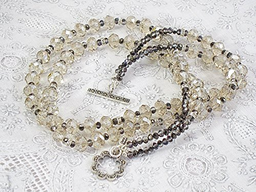 Champagne and grey crystal necklace ()