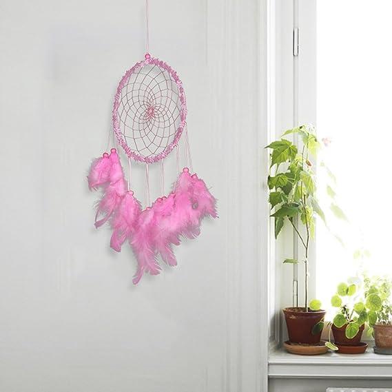 dormitorio rosa Acchiappasogni a forma di albero della vita decorazione per la casa grande piuma fatta a mano decorazione da parete per camera da letto