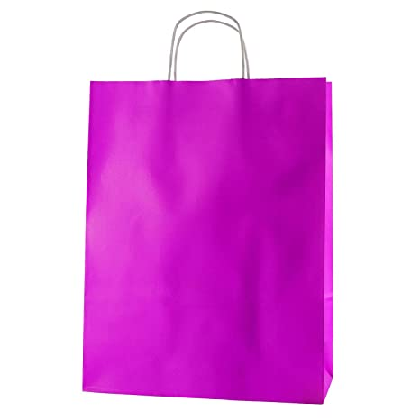 Thepaperbagstore 25 Bolsas De Papel De Colores, Reciclables Y Reutilizables, con Asas Retorcidas, Fucsia - Grandes 320x120x405mm