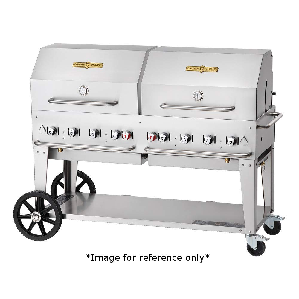 Crown Verity CV-MCB-60-1RDP-NG Mobile Outdoor Natural Gas Charbroiler 8 Burners /& Single Roll Dome 58 x 21 Grill Area