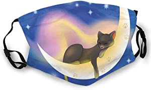 Comfortable Windproof mask,Cat Sleeping On Crescent Moon Stars Night Sweet Dreams Themed Kids Nursery Design,Double Printed Facial decorations for adult