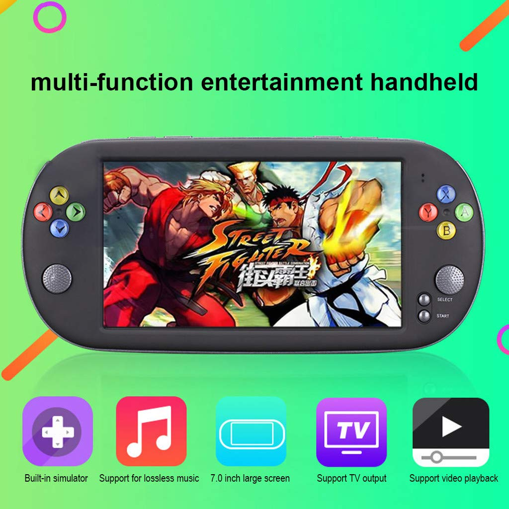 Show TINE ON Multi-Function Handheld Game for POWKIDDY X16,Portable Handheld Game 7 Inch Built-in 8G High Definition Screen Classic Retro Video Game Console Boys Girls Birthday Gift (Black) by Show TINE ON (Image #2)