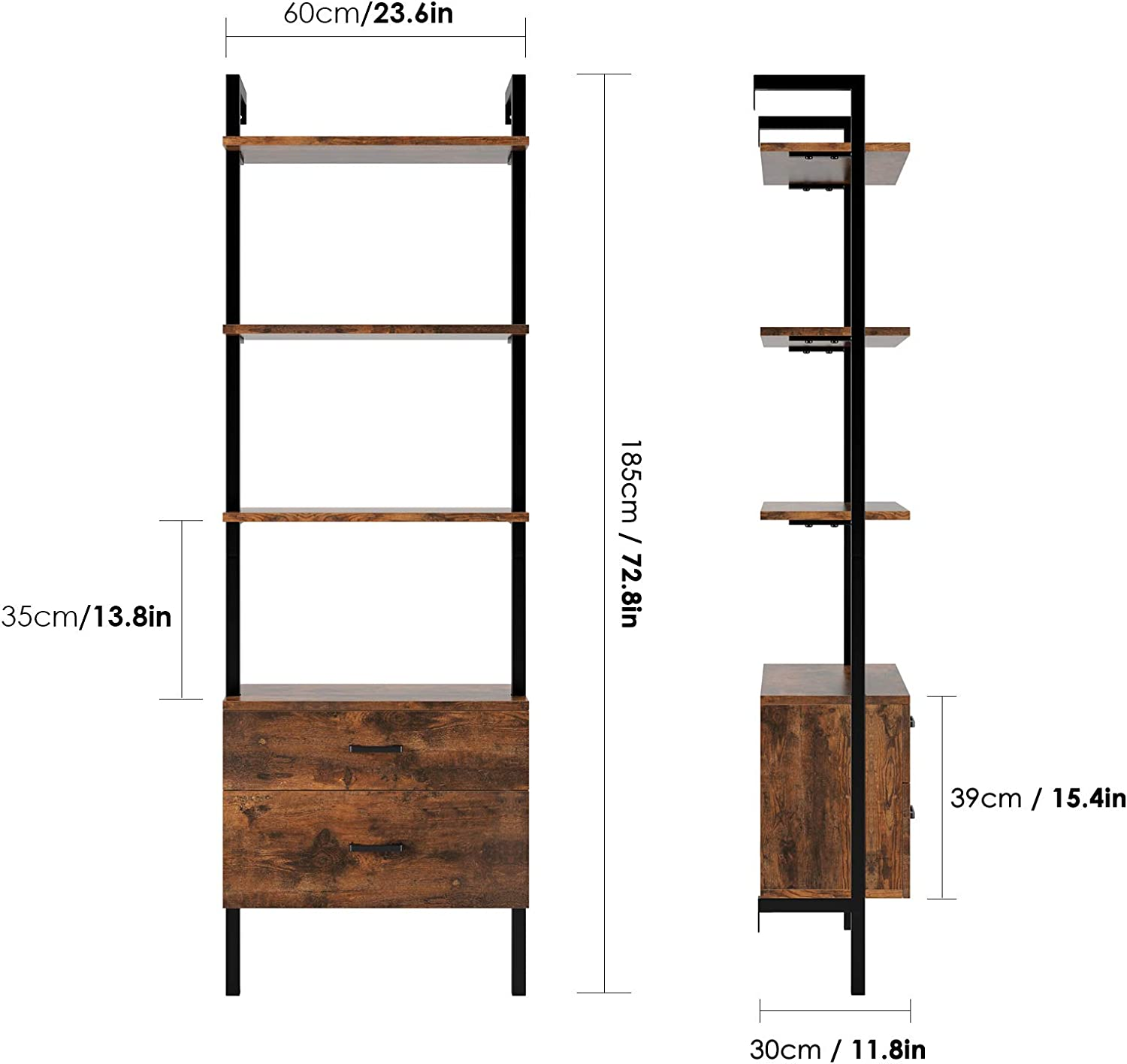 3-Tier Ladder Shelf Against The Wall Homfa Industrial Bookcase with 2 Drawers 72.8 Inches Display Storage Organizer Bookshelf Wood Look Accent Metal Frame Furniture Home Office