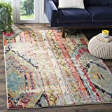 Safavieh Monaco Collection Modern Bohemian Multicolored Distressed Area Rug (6'7″ x 9'2″)