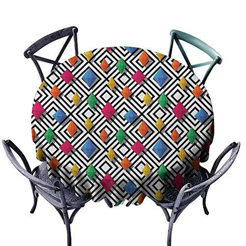 VIVIDX Water Table Cloth,Geometric,Lively Colored and 3D Styled Diamond Gemstone Figures on Black and White Backdrop,Modern Minimalist,47 INCH,Multicolor