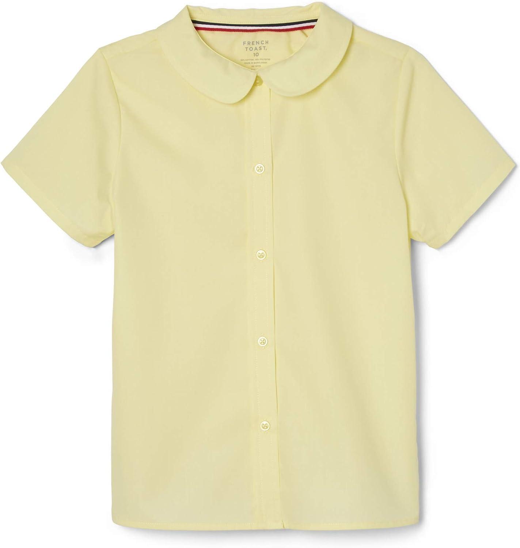 French Toast Girls' Short Sleeve Peter Pan Collar Blouse (Standard & Plus): Clothing