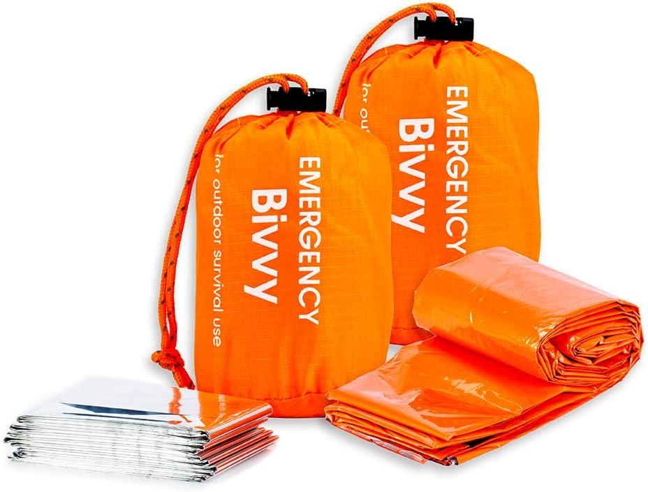 BesWlz Emergency Sleeping Bags, Survival Bivvy Sack Lightweight Waterproof, Portable Nylon Sack Gear for Outdoor Camping Hiking & Emergency Shelter (2Pack)+ Emergency Survival Blanket : Sports & Outdoors