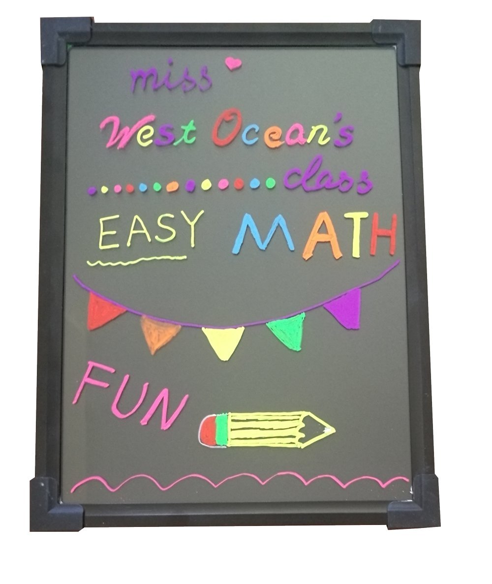 LED Writing Board 32''X24'' Neon Effect Illuminated Erasable Flashing Message Sign Multi-color with remote control