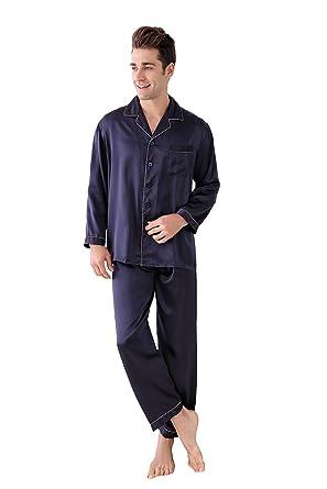 6ba8f4f70e Men s 100% Pure Mulberry Silk Pajama Set Silk Sleepwear for Men (L) Blue