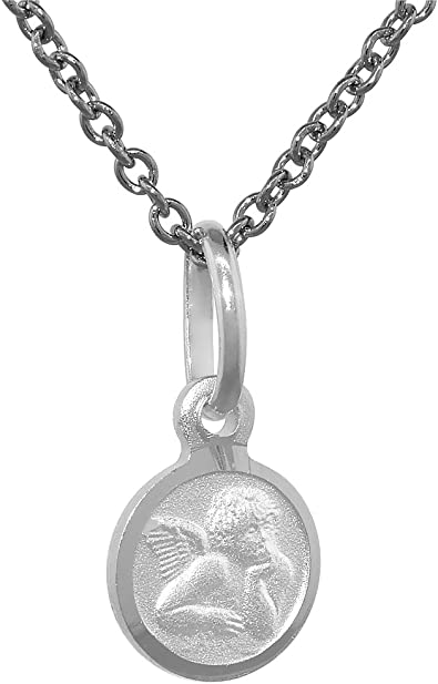 Sterling Silver Guardian Angel Medal Necklace