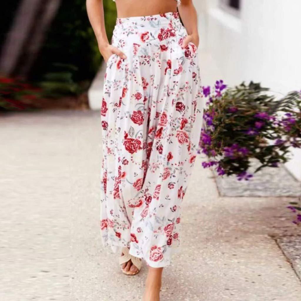 Dasongff Damen Hose Damen Floral Bedruckt Beil/äufige Haremshose Hohe Taille Lockere Hosen mit Weitem Bein Yogahose Freizeithose Strandhosen S-XXL