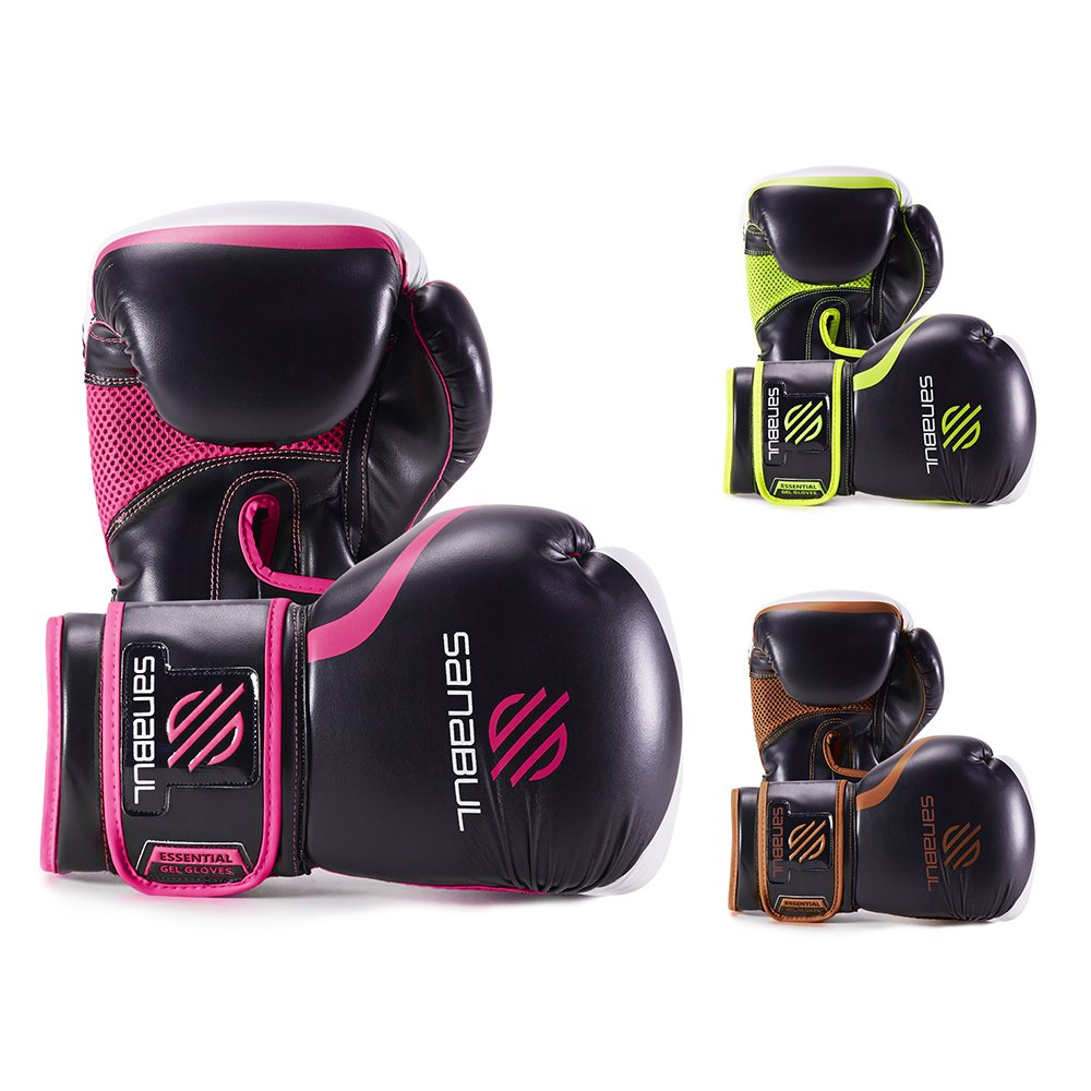 Sanabul Essential Gelボクシングキックボクシングトレーニング手袋 B01D2J433U 12 oz|ブラック/ピンク ブラック/ピンク 12 oz
