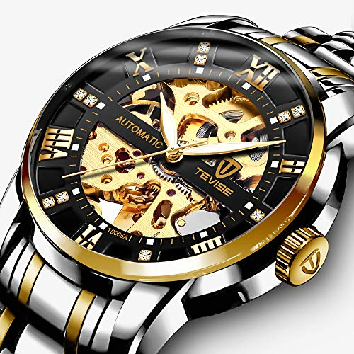 - Men's Watch Luxury Mechanical Stainless Steel Skeleton Waterproof Automatic Self-Winding Luminous Diamond Dial Wrist Watch Gold Black