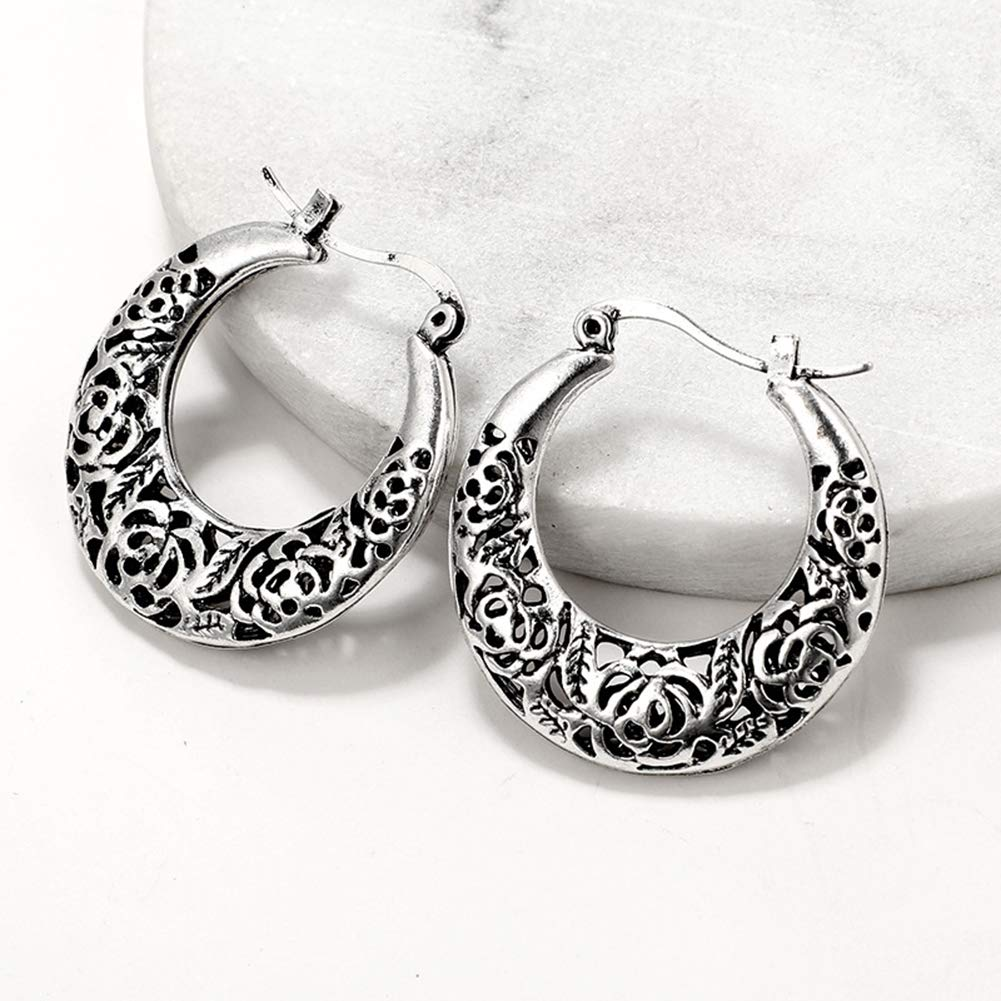Ethnic Openwork Carved Hollow Pattern Horn Hoop Earrings Women Gift Jewelry