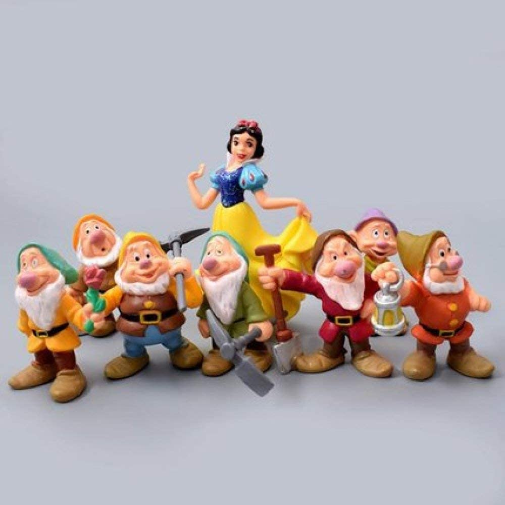 ZGPTX Statue Garden and of Decor Sculpture Design Home The Polyresin Figurine Outdoor Gift 8pcs Miniature Snow White and The Seven Dwarfs Gardening Supplies