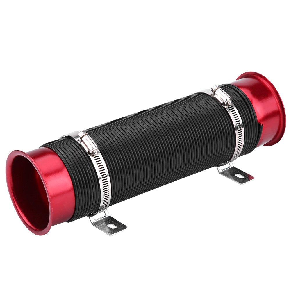 Qiilu Universal 76 mm / 3 pulgadas Tubo de admisió n de aire frí o para automó vil Kit de manguera de tubo Conducto flexible(rojo)