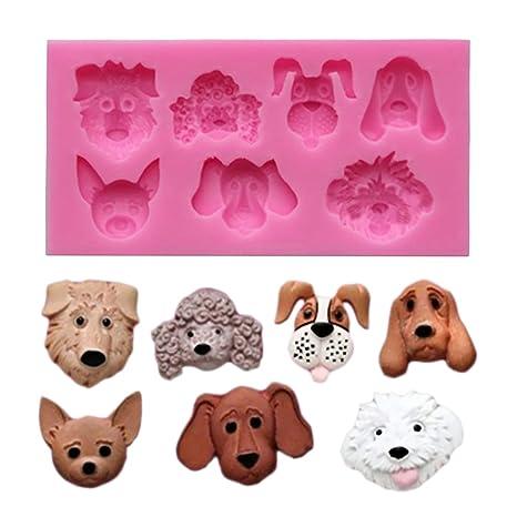 Mini dibujos animados Perro Silicona molde para fondant Chocolate Dulces cubitos de hielo y pudding decorativa