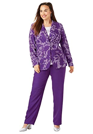 4dfb3aa4eca Jessica London Women s Plus Size Petite Single Breasted Pant Suit - Purple  Shadow Floral