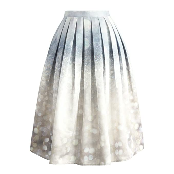 f788e11bc5 Chicwish Women's Silver Grey Sparkles Glitter Prom Party Print Pleated A-line  Midi Skirt
