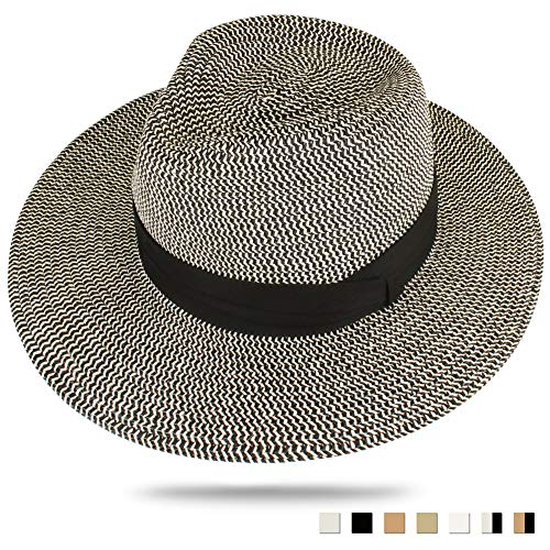 FURTALK Panama Hat Sun Hats for Women Men Wide Brim Fedora Straw Beach Hat UV UPF Black Beige