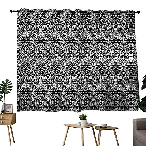 Gabriesl Home Darkening Curtains Grommets Curtain for Bedroom Black and White,Vintage Lace Drapes/Draperies W108 x L72 ()