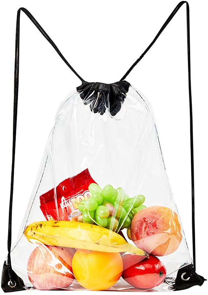 Clear Drawstring Bag,Transparent PVC Stadium Approved Drawstring Backpack for Work Sports and Concerts