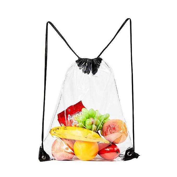 Amazon.com: Bolsa de cordón transparente, de PVC, con cordón ...