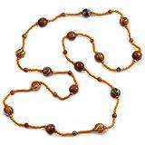 Avalaya Statement Geometric Teal Wood Bead Necklace 60cm Long