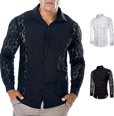 Yvelands Camisas de Encaje Moda Camisas de Encaje Casual ...