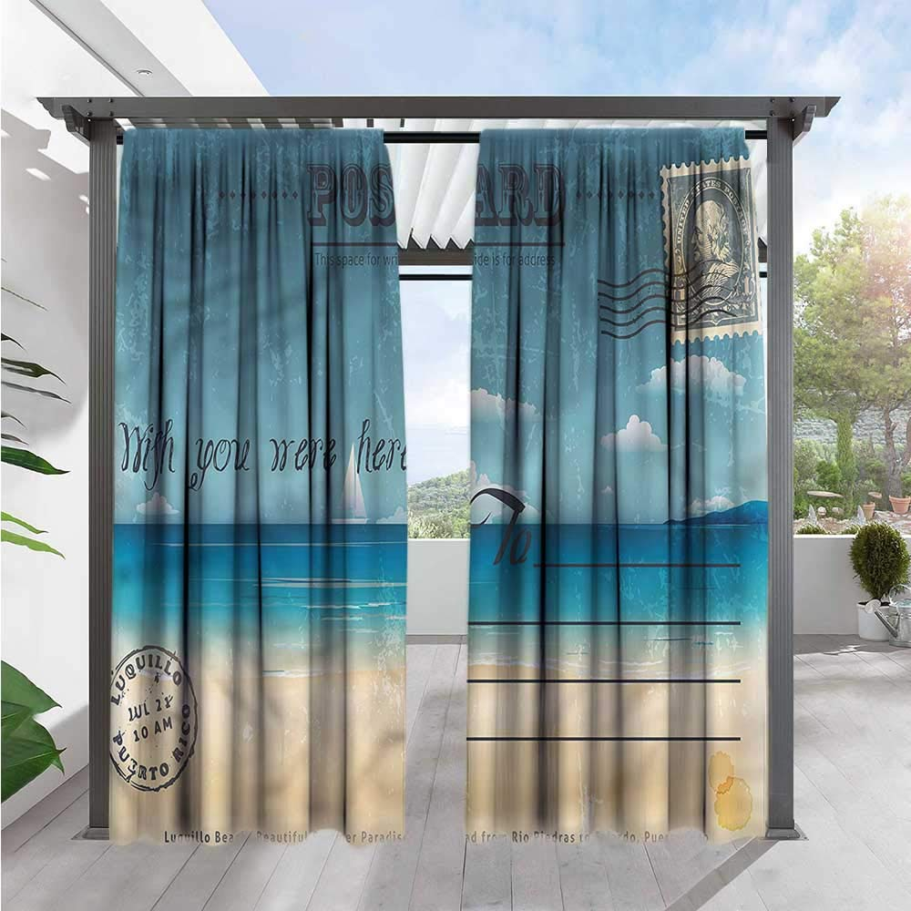 Marilds Travel Exterior/Outside Curtains Summer Postcard Stamp Waterproof 84'' W x 96'' L