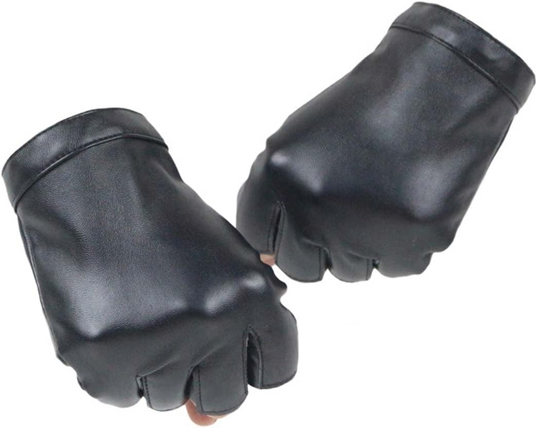 KWLET Women's Fingerless PU Leather Gloves Cycling Driving Motorcycle Performance Gloves, Black, One Size: Sports & Outdoors