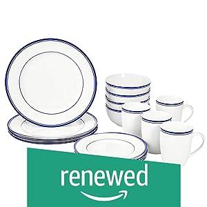 AmazonBasics 16-Piece Cafe Stripe Dinnerware Set, Service for 4 - Blue (Renewed)