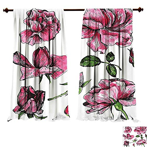 Block Garden Rose China (fengruiyanjing-Home Room Darkening Wide Curtains Floral Garden Flowers Roses Buds Leaves Hand Drawn Sketchy Image Art Hot Pink Light Pink and Green Decor Curtains (W120 x L107 -Inch 2 Panels))