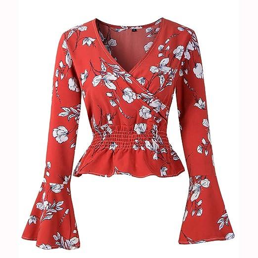 3c5459fdcf1 Alonea Women Crop Shirt, Long Sleeve Deep V Neck Floral Print Bell Sleeve  Blouse Shirt