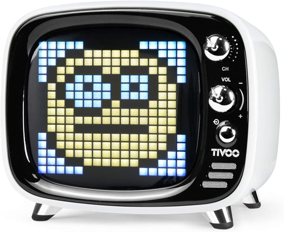 Divoom Tivoo Portable Retro Bluetooth Speaker - Pixel Art DIY Box, RGB Programmable 16X16 LED, Support Android & iOS; TF/SD Card & Aux 3.9X3X3.2 Inches (White)