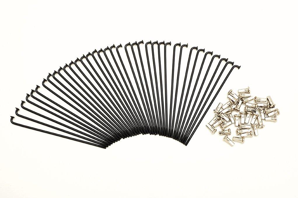 kit 40 raggi e nipples diametro 3,0 mm lunghezza 145 mm neri piegatura 90/°