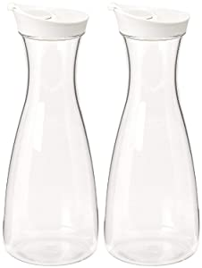 2 PK -Large White (clear) Plastic Carafe Pitcher -Acrylic -BPA Free -57 oz.(1.7 LT.) - Premium Quality - For Juice - Water - Wine - Iced Tea or Milk- Not Suitable for Hot Drinks - No Stickers! (2)