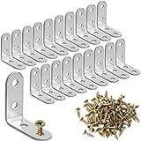 SUMAJU 20 Pieces Corner Brace, Stainless Steel L Bracket 90 Degree Right Corner Brackets Angle Bracket with 80 Pieces…