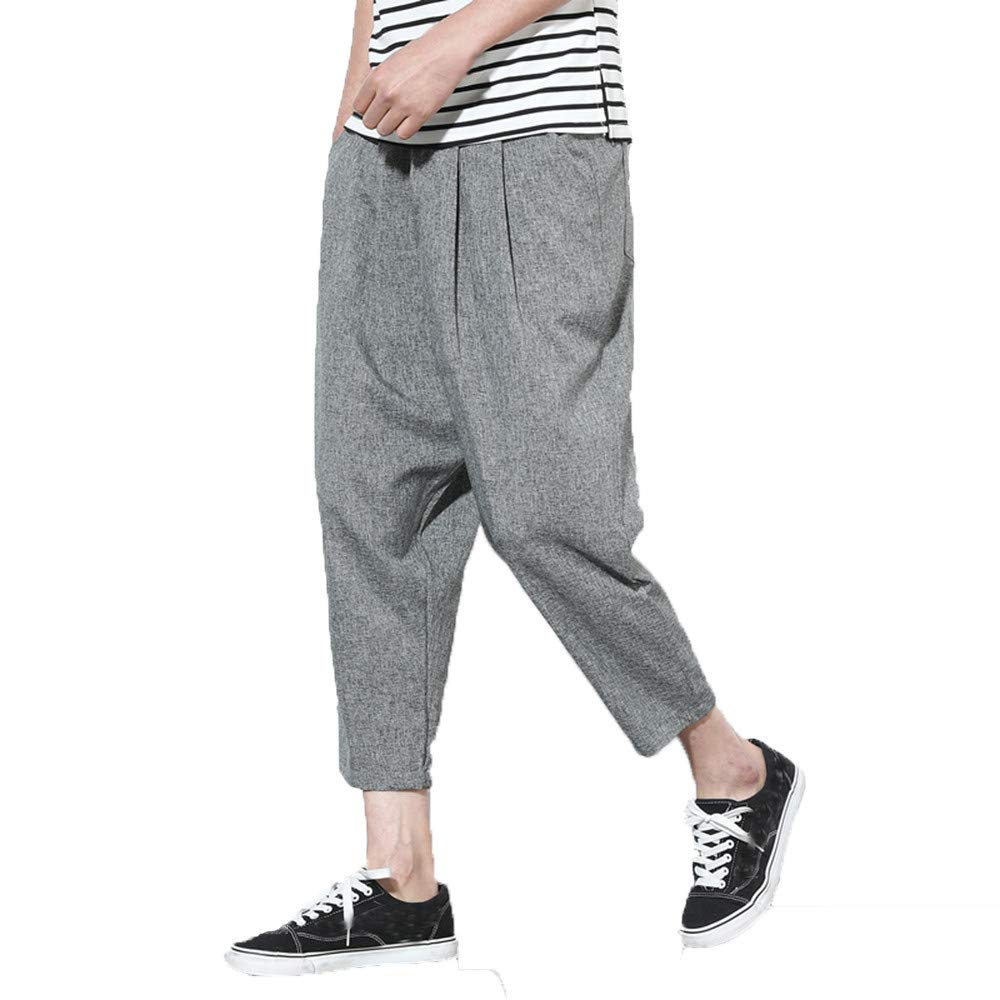 LandFox-Pantaloni Pantaloni casual da uomo elegante Lino Cotone Slim Fit Tinta unita Elastici perfetti per sportivi Pantaloni casual da uomo Pantaloni da nove pezzi in lino Pantaloni larghi Harem LF8091
