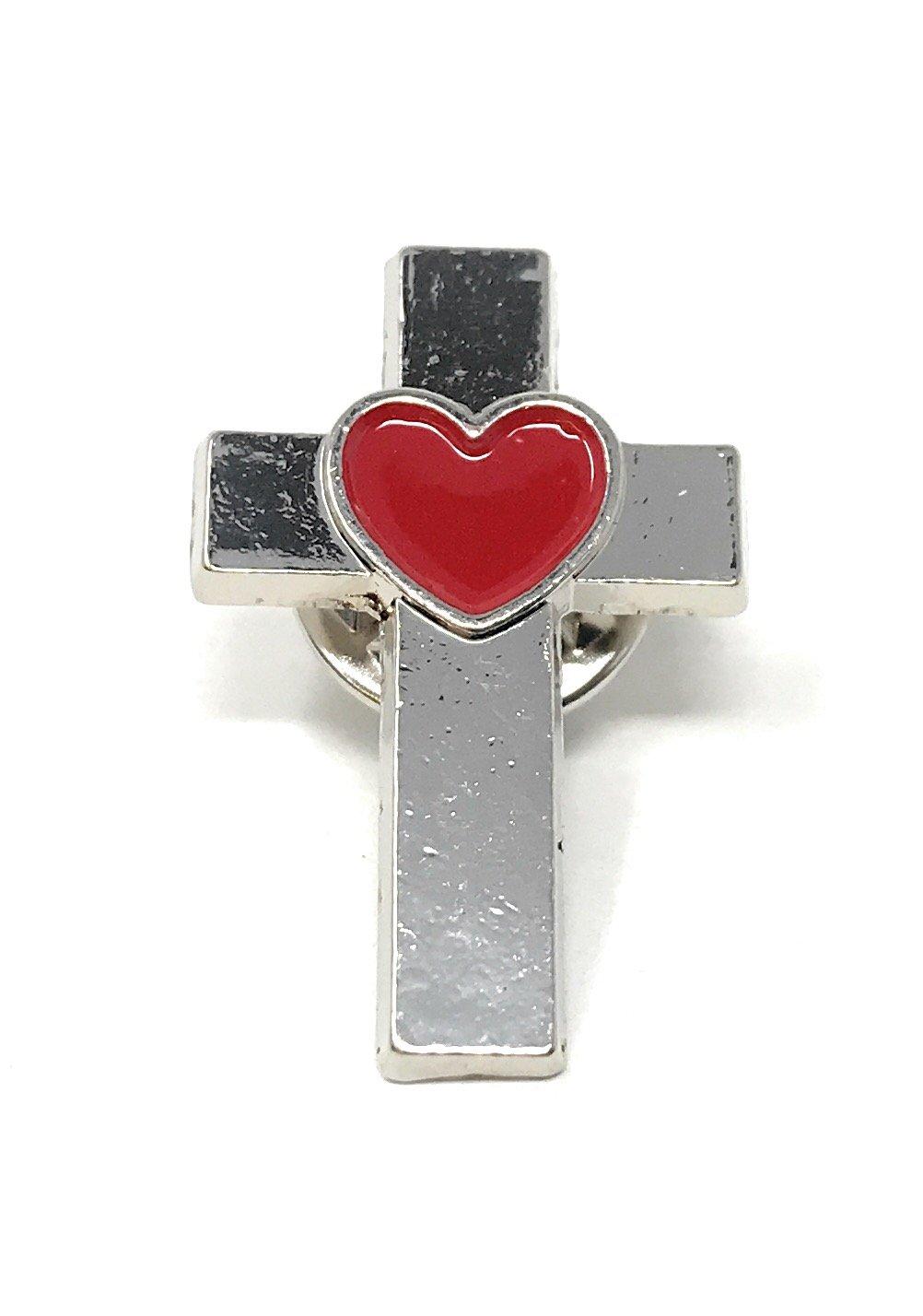 50 Bulk Christian Cross with Heart Lapel Pins