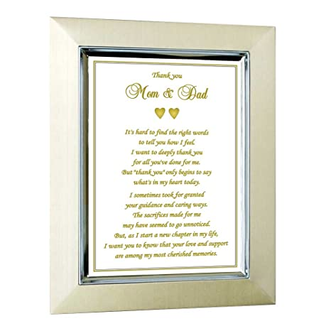 thank you card for parents in gold frame gift for your wedding graduation - Wedding Gift Thank You Cards