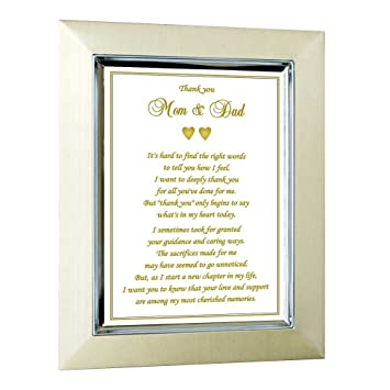 Amazon Com Thank You Card For Parents In Gold Frame Gift For