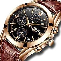 Mens Watches Waterproof Business Dress Analog Quartz Watch Men Luxury Brand Date Sport Brown Leather Clock