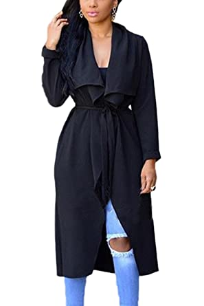 5afb71102e Women Autumn Casual Long Sleeve Open Front Solid Long Trenchcoat Outcoat  With Belt  Amazon.co.uk  Clothing