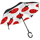 imobaby Ladybug Reverse Folding Double Layer Windproof Inverted Umbrella with C-shaped Hands Free Handle for Travelling and Car Use