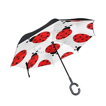 BENNIGIRY Ladybug - Paraguas Reversible Plegable de Doble Capa Resistente al Viento con Mango en Forma