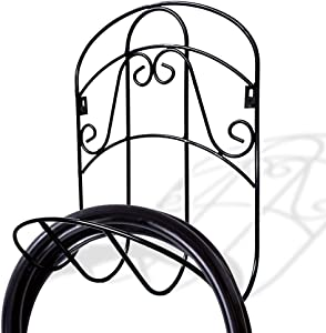 "Awesomes Garden Hose Holder Decorative Wall Mount Hanging Hanger Rack Butler Cast Iron Antique Style Brackets Garden Braces Water Pipe Storage Rack Rustic Shelf (14.76"" x 11.81"" x 4.64"", Black)"