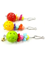 Sanwooden Funny Parrot Bite Toy Parrot Hanging Ornaments Ball Bell Flower Design Bite Toy Chew Swing Bird Tool Pet Supplies
