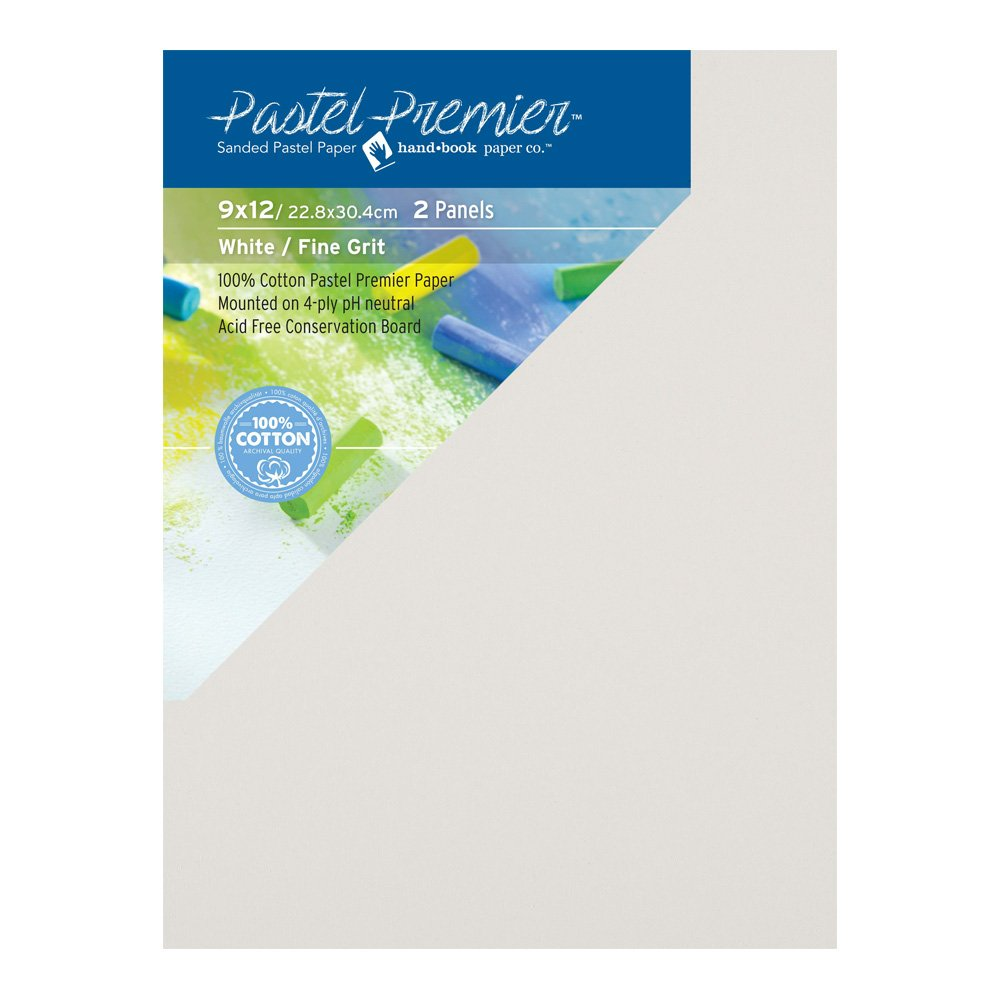 9X12 inches Pastel Premier Sanded Pastel Paper Conservation Panel White Fine Grit 1 Package of 2 Panels